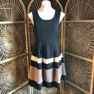 YA LOS ANGELES Striped Dress Open Back Buttons L